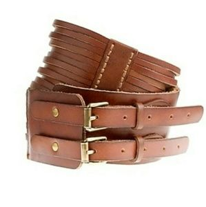 [NWT!] J CREW leather wide strappy brown belt